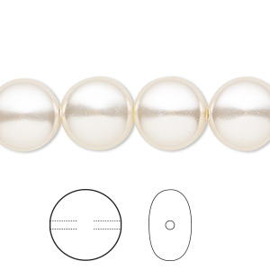 pearl, swarovski crystals, light creamrose, 12mm coin (5860). sold per pkg of 100.