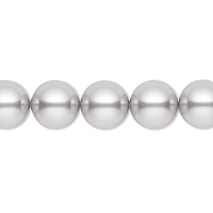 pearl, swarovski crystals, light grey, 10mm round (5810). sold per pkg of 25.