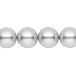 pearl, swarovski crystals, light grey, 12mm round (5810). sold per pkg of 100.