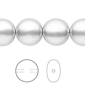 pearl, swarovski crystals, light grey, 14mm coin (5860). sold per pkg of 50.