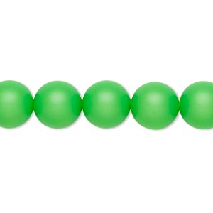 pearl, swarovski crystals, neon green, 10mm round with 1.3-1.5mm hole (5811). sold per pkg of 100.