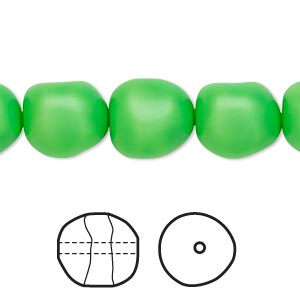 pearl, swarovski crystals, neon green, 12mm baroque (5840). sold per pkg of 10.