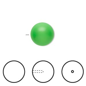 pearl, swarovski crystals, neon green, 12mm half-drilled round (5818). sold per pkg of 2.
