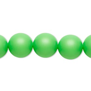 pearl, swarovski crystals, neon green, 12mm round with 1.3-1.5mm hole (5811). sold per pkg of 100.