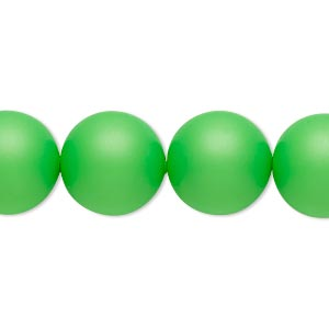 pearl, swarovski crystals, neon green, 14mm round with 1.3-1.5mm hole (5811). sold per pkg of 10.