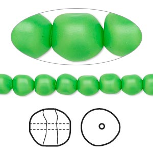 pearl, swarovski crystals, neon green, 6mm baroque (5840). sold per pkg of 250.