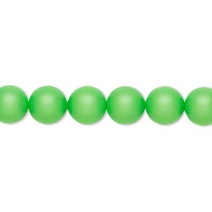 pearl, swarovski crystals, neon green, 8mm round (5810). sold per pkg of 250.