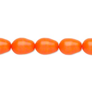 pearl, swarovski crystals, neon orange, 11x8mm pear (5821). sold per pkg of 10.