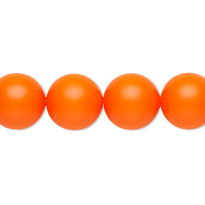 pearl, swarovski crystals, neon orange, 12mm round with 1.3-1.5mm hole (5811). sold per pkg of 10.