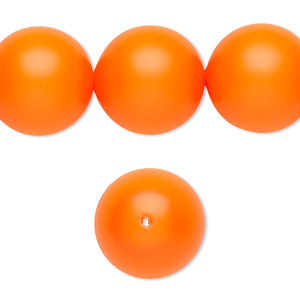 pearl, swarovski crystals, neon orange, 16mm round with 1.3-1.5mm hole (5811). sold per pkg of 5.