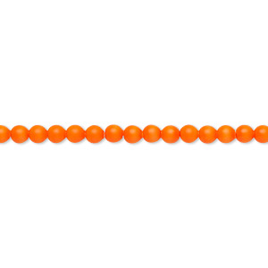 pearl, swarovski crystals, neon orange, 3mm round (5810). sold per pkg of 1,000.