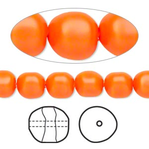 pearl, swarovski crystals, neon orange, 8mm baroque (5840). sold per pkg of 10.