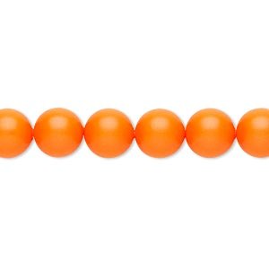 pearl, swarovski crystals, neon orange, 8mm round (5810). sold per pkg of 50.