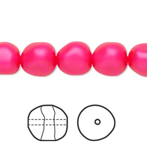 pearl, swarovski crystals, neon pink, 10mm baroque (5840). sold per pkg of 10.