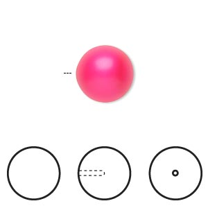 pearl, swarovski crystals, neon pink, 12mm half-drilled round (5818). sold per pkg of 10.
