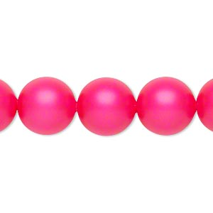 pearl, swarovski crystals, neon pink, 12mm round with 1.3-1.5mm hole (5811). sold per pkg of 100.