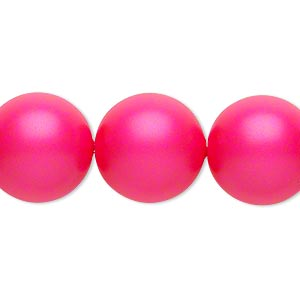 pearl, swarovski crystals, neon pink, 16mm round with 1.3-1.5mm hole (5811). sold per pkg of 25.