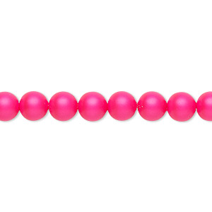pearl, swarovski crystals, neon pink, 6mm round (5810). sold per pkg of 50.