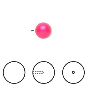 pearl, swarovski crystals, neon pink, 8mm half-drilled round (5818). sold per pkg of 50.