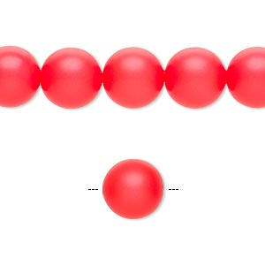 pearl, swarovski crystals, neon red, 10mm round with 1.3-1.5mm hole (5811). sold per pkg of 25.