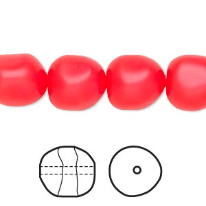 pearl, swarovski crystals, neon red, 12mm baroque (5840). sold per pkg of 10.