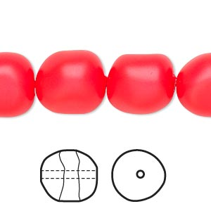 pearl, swarovski crystals, neon red, 14mm baroque (5840). sold per pkg of 50.