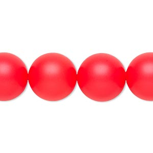 pearl, swarovski crystals, neon red, 14mm round with 1.3-1.5mm hole (5811). sold per pkg of 50.