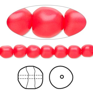 pearl, swarovski crystals, neon red, 6mm baroque (5840). sold per pkg of 250.