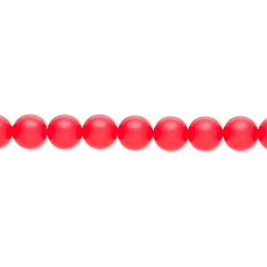 pearl, swarovski crystals, neon red, 6mm round (5810). sold per pkg of 50.