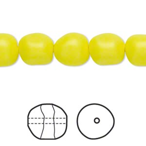 pearl, swarovski crystals, neon yellow, 10mm baroque (5840). sold per pkg of 10.