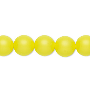 pearl, swarovski crystals, neon yellow, 10mm round with 1.3-1.5mm hole (5811). sold per pkg of 100.