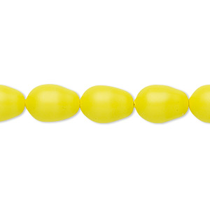 pearl, swarovski crystals, neon yellow, 11x8mm pear (5821). sold per pkg of 10.