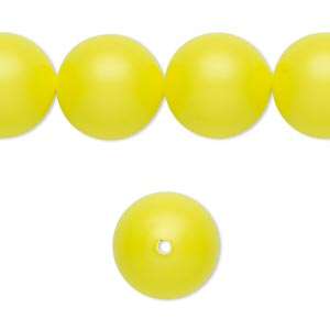 pearl, swarovski crystals, neon yellow, 14mm round with 1.3-1.5mm hole (5811). sold per pkg of 10.