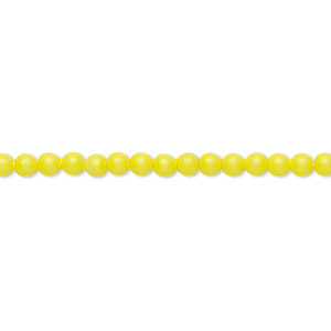 pearl, swarovski crystals, neon yellow, 3mm round (5810). sold per pkg of 100.