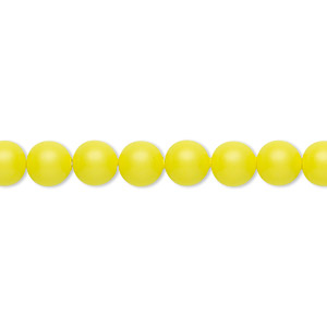 pearl, swarovski crystals, neon yellow, 6mm round (5810). sold per pkg of 500.