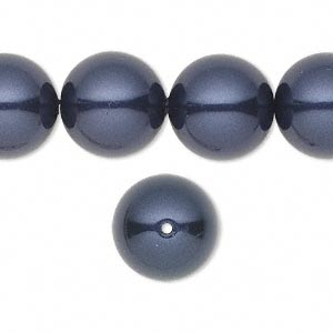 pearl, swarovski crystals, night blue, 14mm round with 1.3-1.5mm hole (5811). sold per pkg of 50.