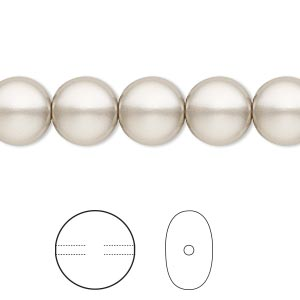 pearl, swarovski crystals, platinum, 10mm coin (5860). sold per pkg of 10.