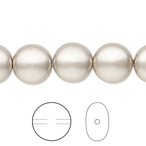 pearl, swarovski crystals, platinum, 12mm coin (5860). sold per pkg of 10.