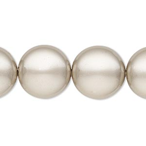 pearl, swarovski crystals, platinum, 16mm coin (5860). sold per pkg of 5.