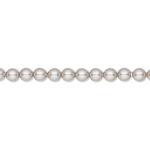 pearl, swarovski crystals, platinum, 4mm round (5810). sold per pkg of 100.