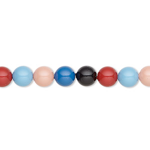 pearl, swarovski crystals, red rock, 6mm round (5810). sold per pkg of 50.