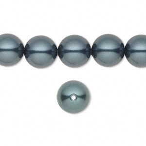 pearl, swarovski crystals, tahitian, 10mm round with 1.3-1.5mm hole (5811). sold per pkg of 25.