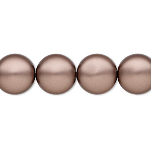 pearl, swarovski crystals, velvet brown, 12mm coin (5860). sold per pkg of 100.