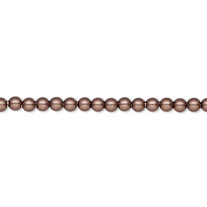 pearl, swarovski crystals, velvet brown, 3mm round (5810). sold per pkg of 1,000.