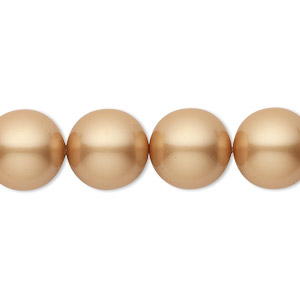 pearl, swarovski crystals, vintage gold, 12mm round (5810). sold per pkg of 10.
