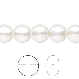 pearl, swarovski crystals, white, 10mm coin (5860). sold per pkg of 10.