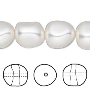 pearl, swarovski crystals, white, 14mm baroque (5840). sold per pkg of 10.