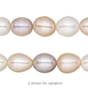 pearl, white lotus™, cultured freshwater (bleached), white / peach / mauve, 9-10mm rice, c grade, mohs hardness 2-1/2 to 4. sold per 16-inch strand.