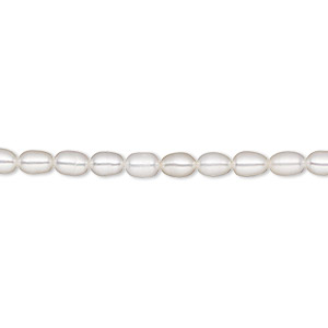 pearl, white lotus™, cultured freshwater (bleached), white, 3.5-4mm rice, a- grade, mohs hardness 2-1/2 to 4. sold per 16-inch strand.