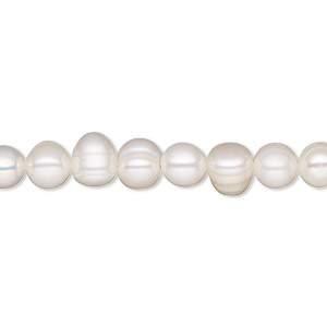 pearl, white lotus™, cultured freshwater (bleached), white, 6-6.5mm semi-round, c grade, mohs hardness 2-1/2 to 4. sold per 16-inch strand.